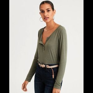 American Eagle Green Soft & Sexy Ribbed Top size S